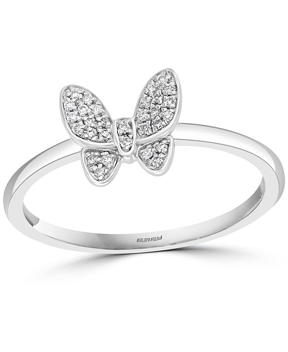 EFFY Collection EFFY® Diamond Butterfly Promise Ring (1/10 ct. t.w.) in Sterling Silver