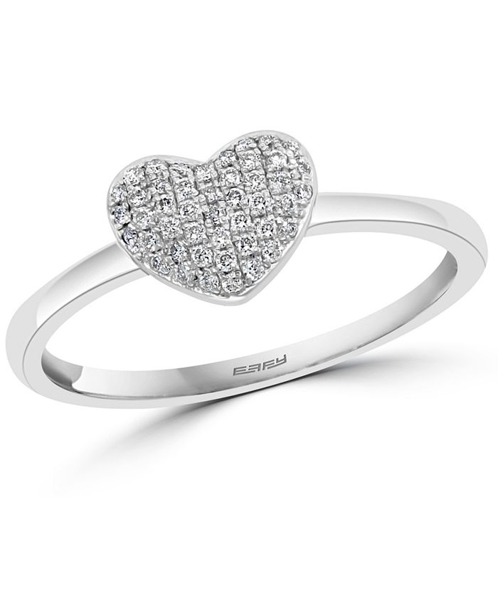 EFFY Collection - Diamond Pavé Heart Promise Ring (1/8 ct. t.w.) in Sterling Silver