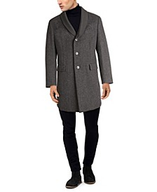 Men's Solid Topcoat with Knit Collar