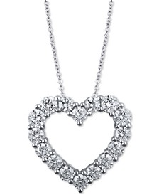 "Diamond Heart 18"" Pendant Necklace (3 ct. t.w.) in 14k White Gold"