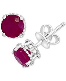 EFFY® Ruby Stud Earrings (1-5/8 ct. t.w.) in 14k White Gold (Also in Tanzanite, Emerald & Sapphire)