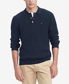 Men's Regular-Fit Textured Sweater-Knit Polo Shirt