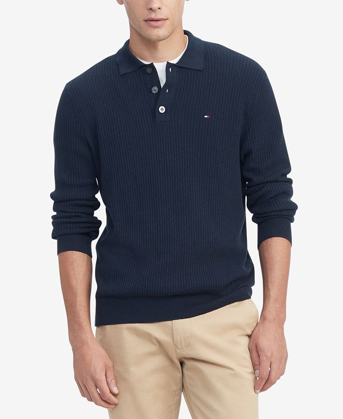 Tommy Hilfiger - Men's Regular-Fit Textured Polo Sweater
