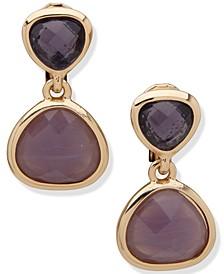 Gold-Tone Purple Double Drop Clip-On Earrings