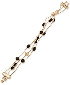 Gold-Tone Jet Stone Station Flex Bracelet