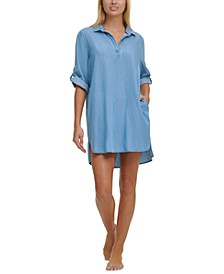 Chambray Shirtdress Cover-Up
