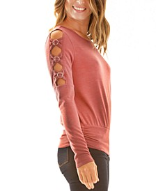 Juniors' Cutout-Sleeve Top