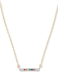 """Lab-Created Multi-Gemstone (1/2 ct. t.w.) & Diamond Accent Horizontal Bar Pendant Necklace in 18k Gold-Plated Sterling Silver, 15"""" + 1"""" extender"""