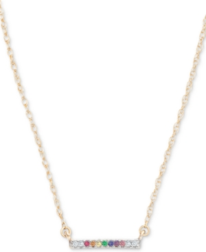 Lab-Created Multi-Gemstone (1/2 ct. t.w.) & Diamond Accent Horizontal Bar Pendant Necklace in 18k Gold-Plated Sterling Silver