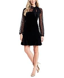 Mixed-Media Velvet Dress