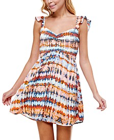 Juniors' Smocked Tie-Dyed Dress