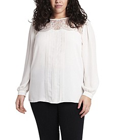 Women's Plus Size Long Sleeve Lace Yoke Pleated Front Blouse