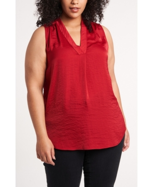 Vince Camuto WOMEN'S PLUS SIZE V-NECK SLEEVELESS BLOUSE
