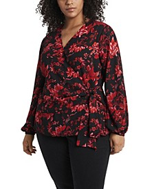 Women's Plus Size Long Sleeve Tie Front Victorian Blooms Print Blouse