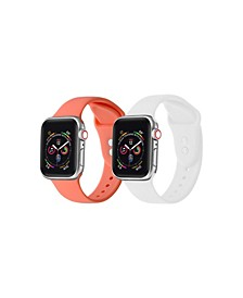 Unisex Living Coral and White 2-Pack Replacement Band for Apple Watch, 42mm