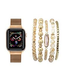 Unisex Rose Gold Tone Skinny Metal Loop Band for Apple Watch and Bracelet Bundle, 38mm