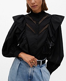 Women's Ruffled Cotton Blouse