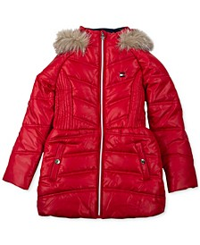 Baby Girls Hooded Puffer Coat with Faux-Fur Hood