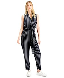 Striped Sleeveless Jumpsuit, Created for Macy's