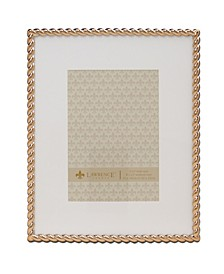 """High Quality Polished Cast Metal Picture Frame - Rope Design with Mat, 8"""" x 10"""""""
