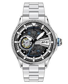 Men's Hawker Hunter Avon Automatic Diamonds Silver Tone Stainless Steel Bracelet Watch, 44mm