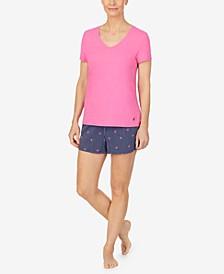 Women's V-neck T-shirt with Capri Pant Set