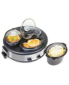 HCRTSCO15SS 1.5-Quart Triple Oval Slow Cooker Buffet