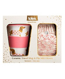 Totes Women's Travel Mug and Flip Mitten Boxed Gift Set