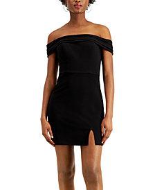 City Studios Juniors' Off-The-Shoulder Bodycon Dress