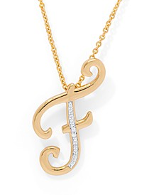 "Diamond Accent Initial Pendant Necklace 18"" in Gold Plate"