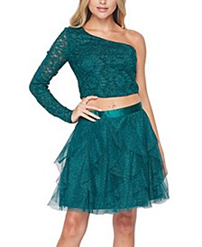 Juniors' 2-Pc. One-Shoulder Glitter Fit & Flare Dress