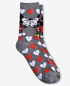 "Mickey Mouse Women's ""Kiss Me"" Crew Socks"