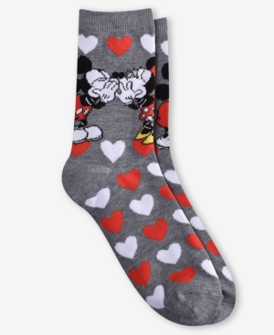 """Planet Sox Mickey Mouse Women's """"kiss Me"""" Crew Socks In Light Gray Heather"""