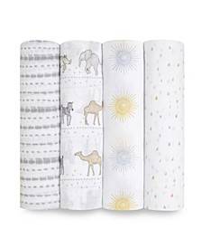 Essentials Cotton Muslin Swaddle Blanket Sunshine Collection, Set of 4