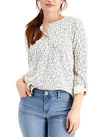 Dot-Print 3/4-Sleeve Textured Top, Created for Macy's