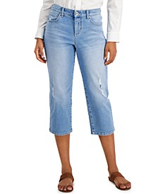 Distressed Curvy-Fit Capri Jeans, Created for Macy's