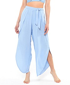 Solid Tie-Waist Cover-Up Beach Pants