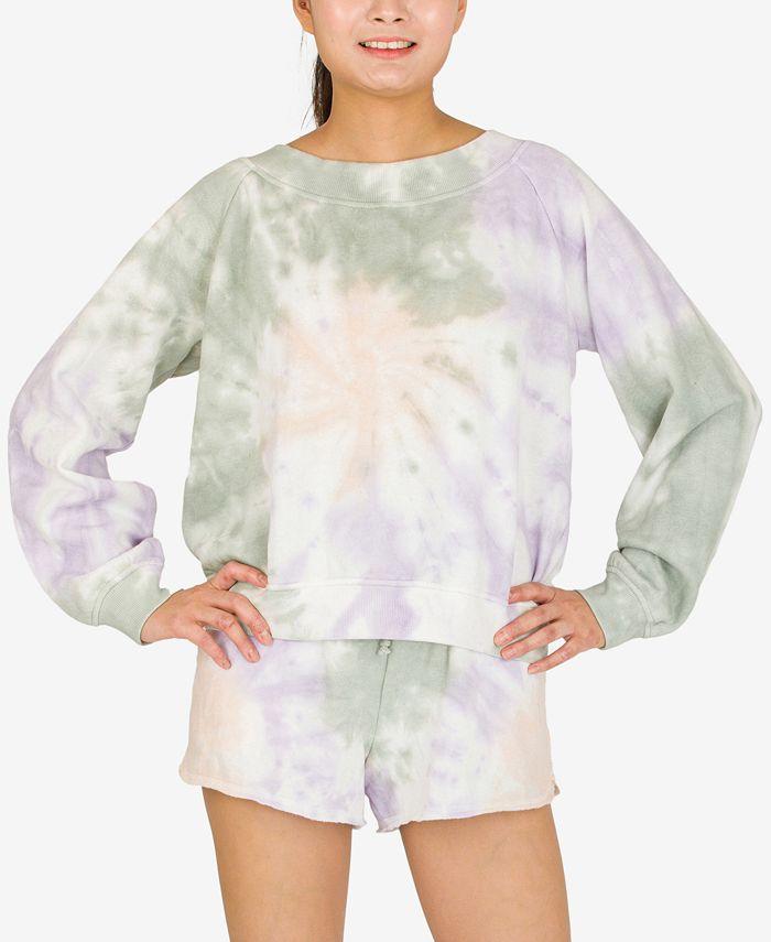 Hippie Rose - Juniors' Tie-Dyed Long-Sleeved Sweatshirt