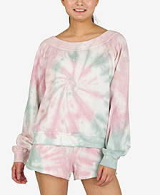 Juniors' Tie-Dyed Long-Sleeved Sweatshirt