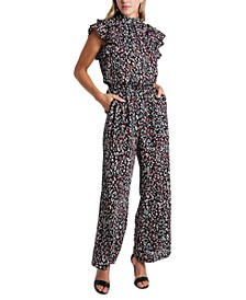 Animal-Print Flutter-Sleeve Jumpsuit