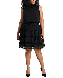 MSK Plus Size Tiered Fit & Flare Dress