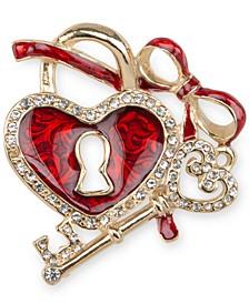 Gold-Tone Pavé Heart Lock & Key Pin, Created for Macy's