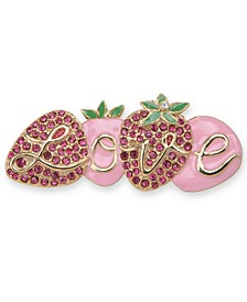 Gold-Tone Pavé Strawberry Love Pin, Created for Macy's