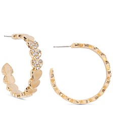 "Gold-Tone Medium Pavé Heart C-Hoop Earrings, 1.25"", Created for Macy's"