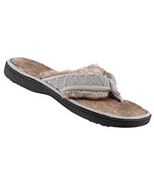 Isotoner Faux Fur Sage Thong Slippers