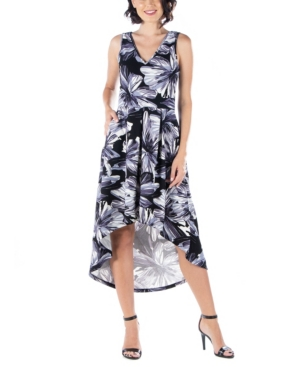 Womens Sleeveless High Low Pocket Dress