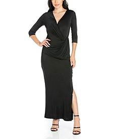 Women's Fitted V-Neck Side Slit Maxi Dress