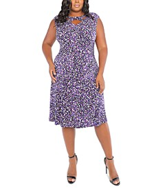 Plus Size Dot-Print Cross-Neck Fit & Flare Dress