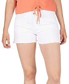 Mid-Rise Frayed-Hem Denim Shorts