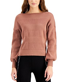 Textured-Stripe Puff-Sleeve Sweater, Created for Macy's